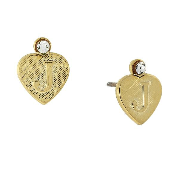 14K Gold Dipped Crystal Accent Initial Heart Stud Earrings J