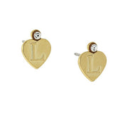 14K Gold Dipped Crystal Accent Initial Heart Stud Earrings L