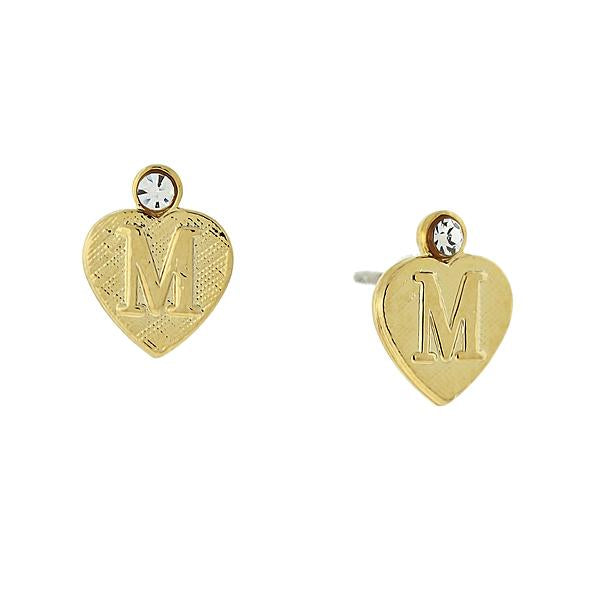 14K Gold Dipped Crystal Accent Initial Heart Stud Earrings M