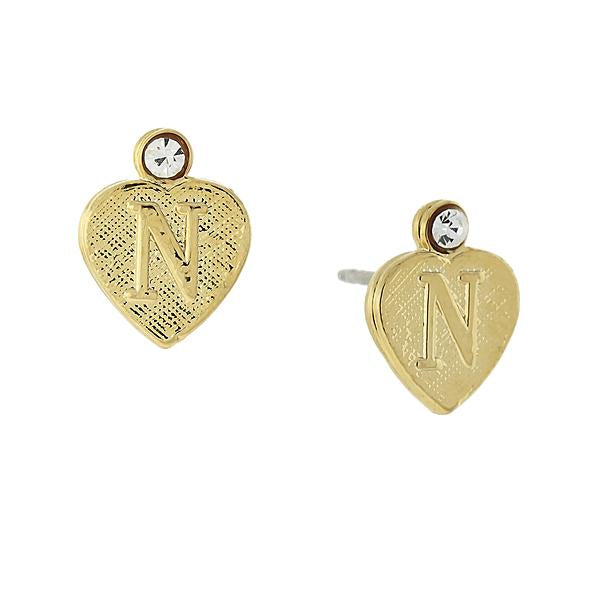 14K Gold Dipped Crystal Accent Initial Heart Stud Earrings N