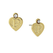 14K Gold Dipped Crystal Accent Initial Heart Stud Earrings P