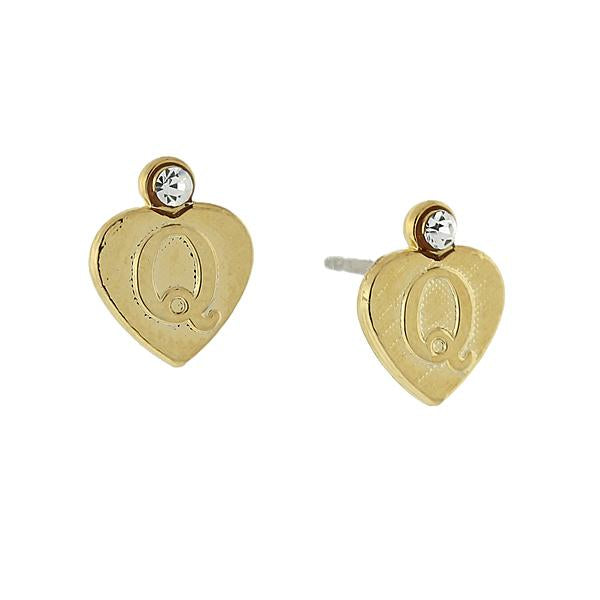 14K Gold Dipped Crystal Accent Initial Heart Stud Earrings Q