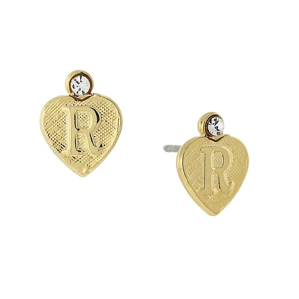 14K Gold Dipped Crystal Accent Initial Heart Stud Earrings R