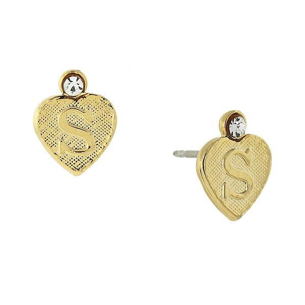 14K Gold Dipped Crystal Accent Initial Heart Stud Earrings S