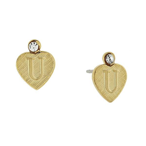 14K Gold Dipped Crystal Accent Initial Heart Stud Earrings U