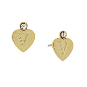 14K Gold Dipped Crystal Accent Initial Heart Stud Earrings V