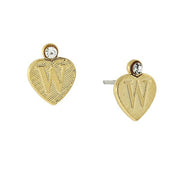 14K Gold Dipped Crystal Accent Initial Heart Stud Earrings W