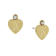 14K Gold Dipped Crystal Accent Initial Heart Stud Earrings X