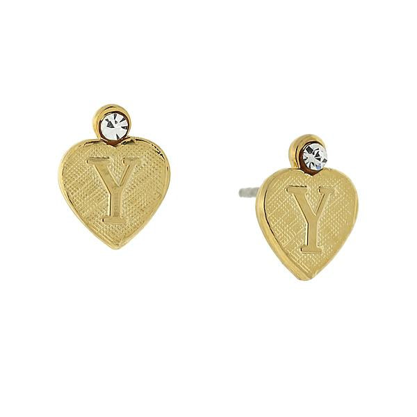 14K Gold Dipped Crystal Accent Initial Heart Stud Earrings Y