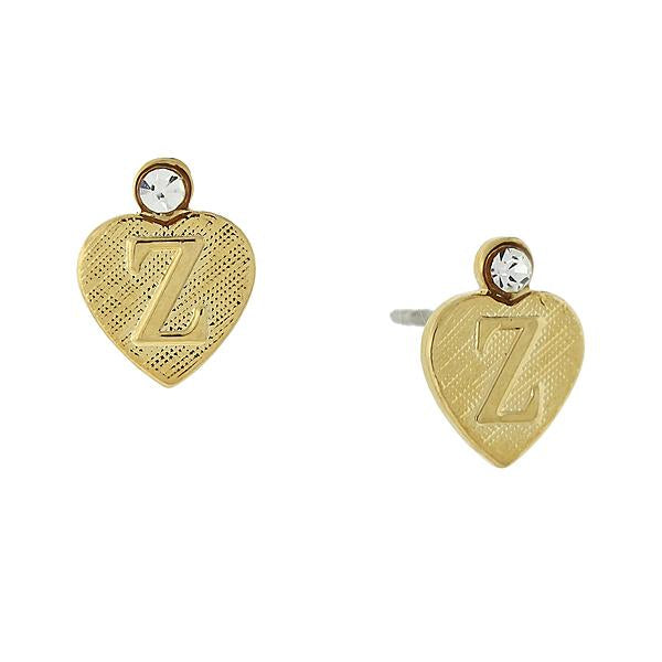 14K Gold Dipped Crystal Accent Initial Heart Stud Earrings Z