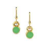 Light Green 14K Gold Dipped Enamel Button Dainty Wire Drop Earring (Small)