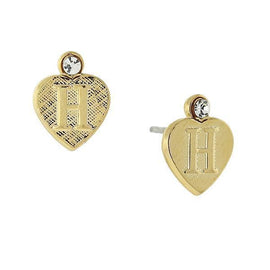 14K Gold-Dipped  H  Initial Heart Stud Earrings