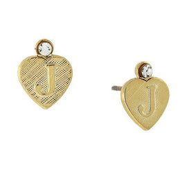 14K Gold-Dipped  J  Initial Heart Stud Earrings