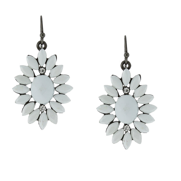 Black Tone White Flower Drop Earrings