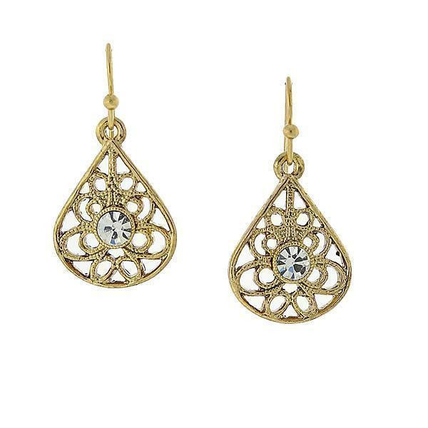 Gold-Tone Clear Crystal Filigree Teardrop Earrings