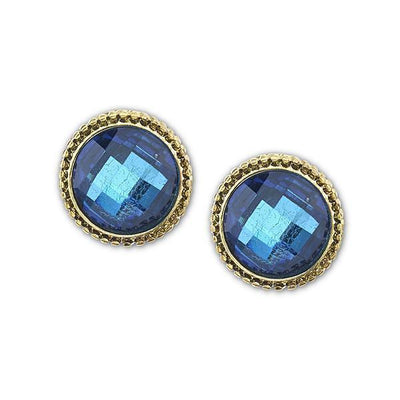 Gold Tone Blue Faceted Button Earrings