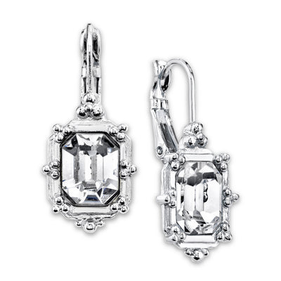 Silver Tone Crystal Square Drop Earrings