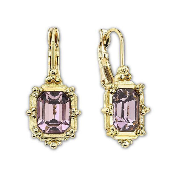 Fashion Jewelry - 2028 Gold-Tone Amethyst Color Square Drop Earrings