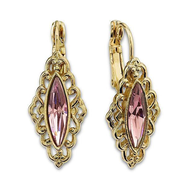Gold-Tone Lt. Purple Marquise-Shaped Drop Earrings