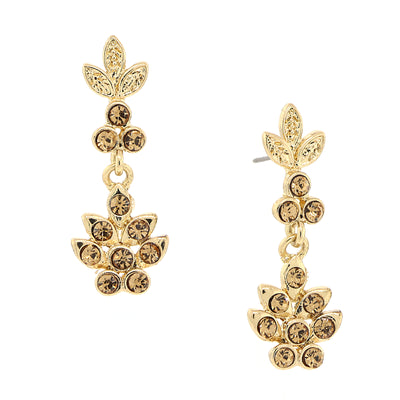 Gold-Tone Light Colorado Topaz Flower Drop Earrings