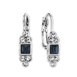 Silver-Tone Blue Square with Clear Crystal Accent Petite Drop Earrings