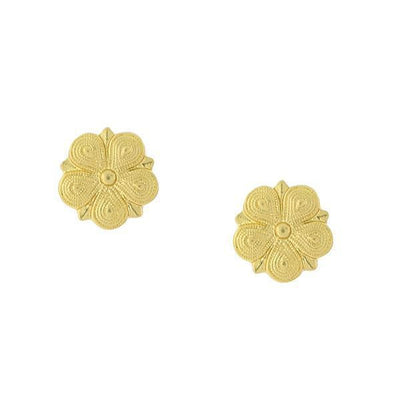 Gold Tone Flower-Shaped Stud Earrings