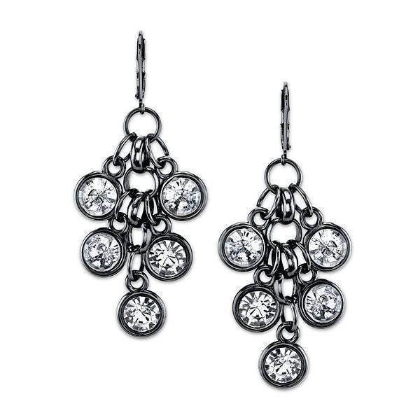 Black-Tone Crystal Cluster Drop Earrings