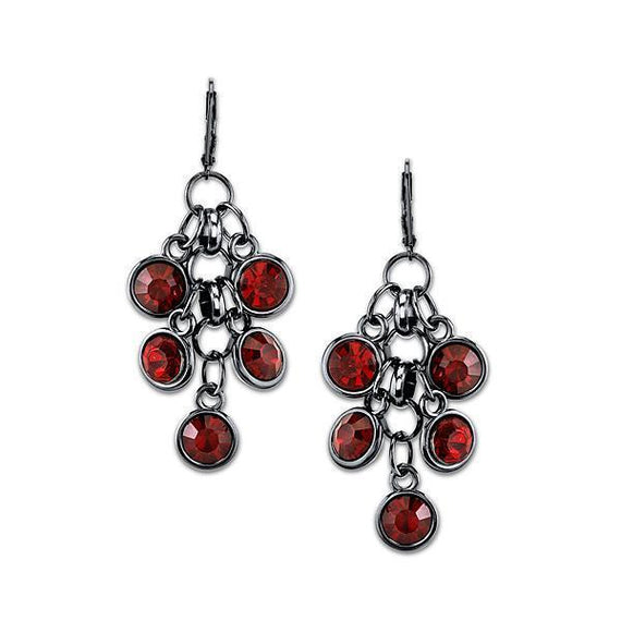 Fashion Jewelry - Black Tone Red Cluster Drop Earrings