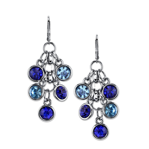 Blue Round Crystal Link Chain Cluster Drop Earrings
