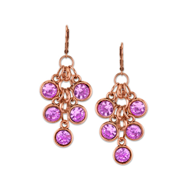 2028 Jewelry Copper Tone Light Amethyst Purple Color Cluster Drop Earrings
