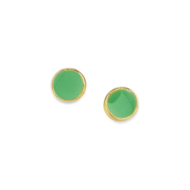 14K Gold Dipped Round Enamel Button Dainty Earring (Small)