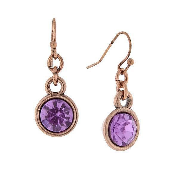 Copper Tone Purple Stone Drop Earrings