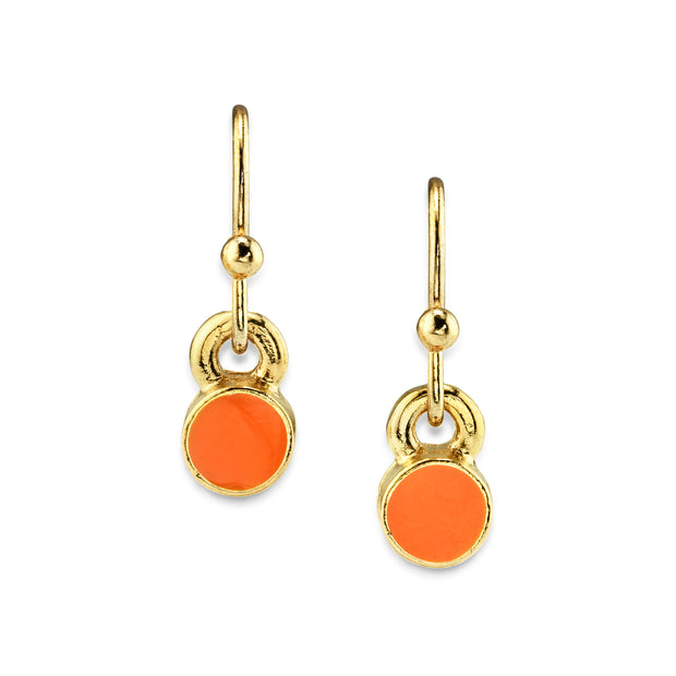 14K Gold Dipped Enamel Button Dainty Wire Drop Earring (Small) Orange
