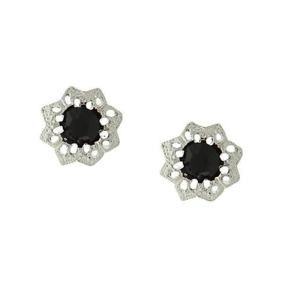 Silver Tone Black Crystal Flower Button Earrings