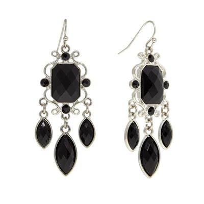 Silver Tone Black Drop Earrings