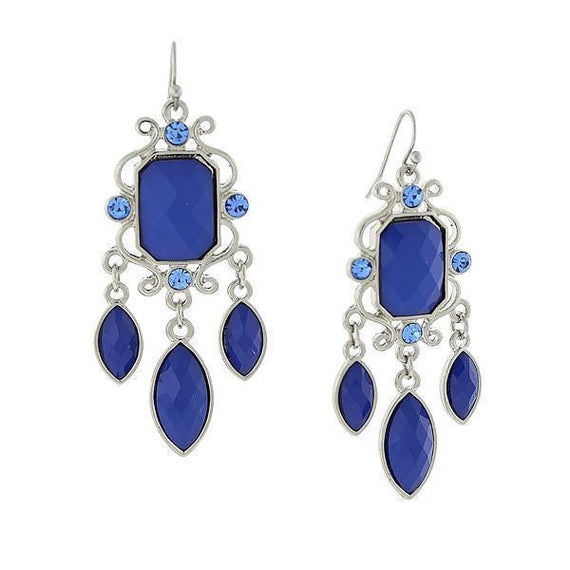 Silver-Tone Blue Drop Earrings