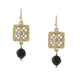 Gold-Tone Black Square Filigree Drop Earrings