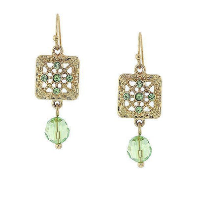Gold-Tone Green Square Filigree Drop Earrings