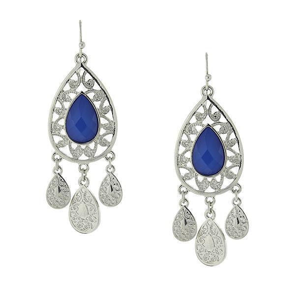 Silver-Tone Blue Filigree Teardrop Earrings