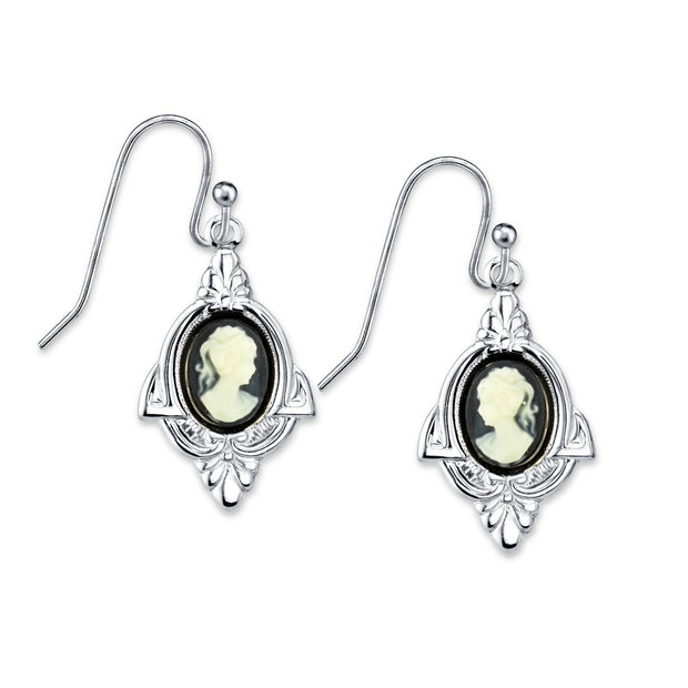 Silver-Tone Faux Black Cameo Drop Earrings