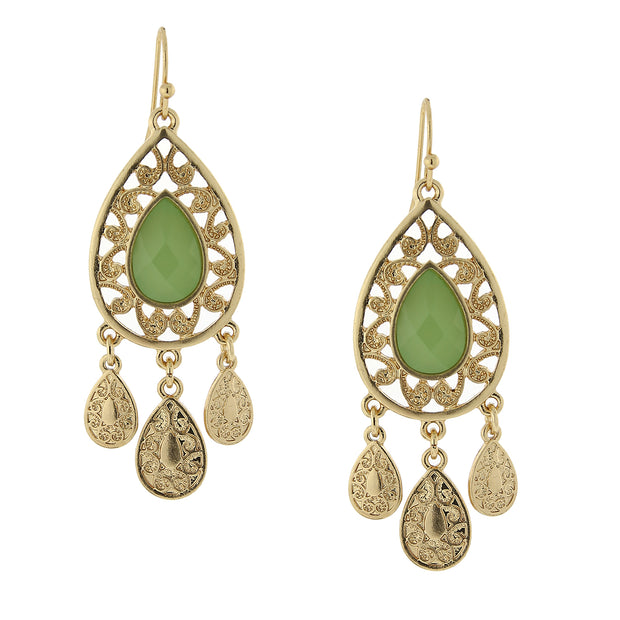 Gold-Tone Green Pearshape Filigree Drop Earrings
