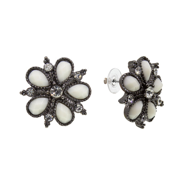 Black-Tone White Opaque Flower Button Earrings
