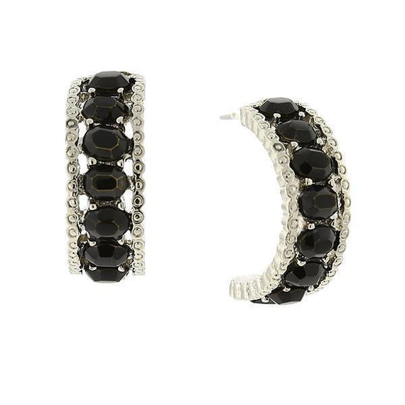 Silver-Tone Black Opaque Partial Hoop Earrings