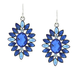 Silver-Tone Tonal Blue Drop Earrings