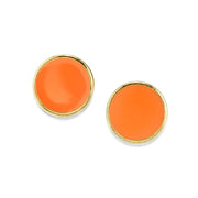 14K Gold Dipped Large Enamel Button Earring
