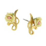 14K Gold-Tone Porcelain Rose Post Earrings WHITE