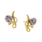 14K Gold Tone Porcelain Rose Post Earrings Light Purple
