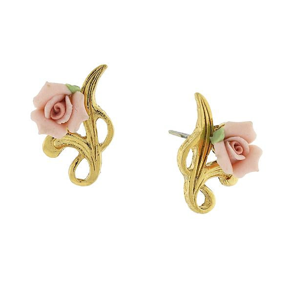 14K Gold Tone Porcelain Rose Post Earrings Pink
