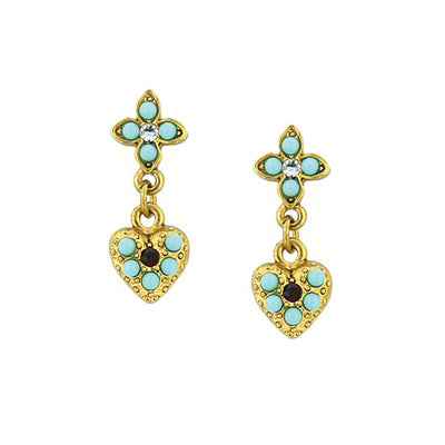 Gold Tone Red Crystal And Turquoise Blue Heart Drop Earrings