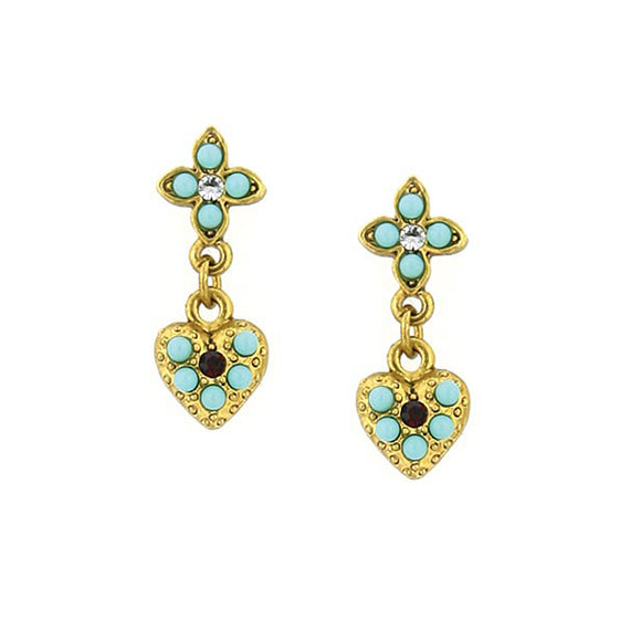 Gold-Tone Red Crystal and Turquoise Blue Heart Drop Earrings